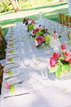 pink and green dining table