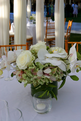 green flowes mixed with white orchids
