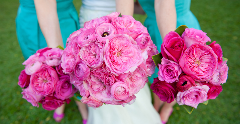 Pink Garden roses for Maui wedding