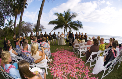 pink plumeria petal path for Maui wedding