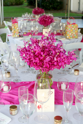 bright pink prchids for table