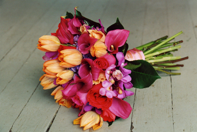 orange tulip and pink mini calla lilies bouquet