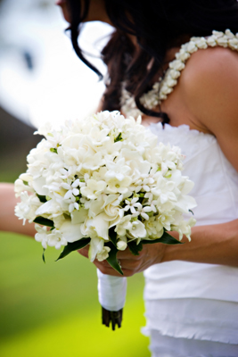detailed white brides bouquet
