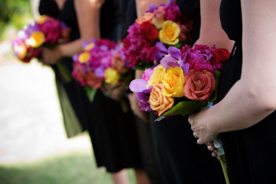 colorful bridemaids bouquets: maui