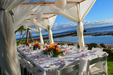 Bamboo Canopy for dinner table: Blue Sky Weddings Maui