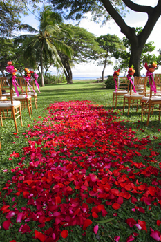 Maui petal path by Blue Sky Weddings