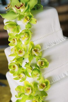 cascading orchid wedding cake