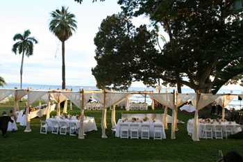 Bamboo canopies at Olowalu by Blue Sky Weddings