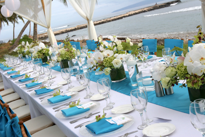 Maui wedding reception with blue accents